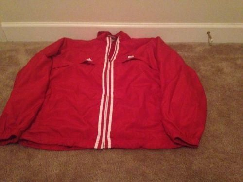 NC State ADIDAS Adult Jacket Sz M Mesh Lined Wind Jacket Red/White Zip Front
