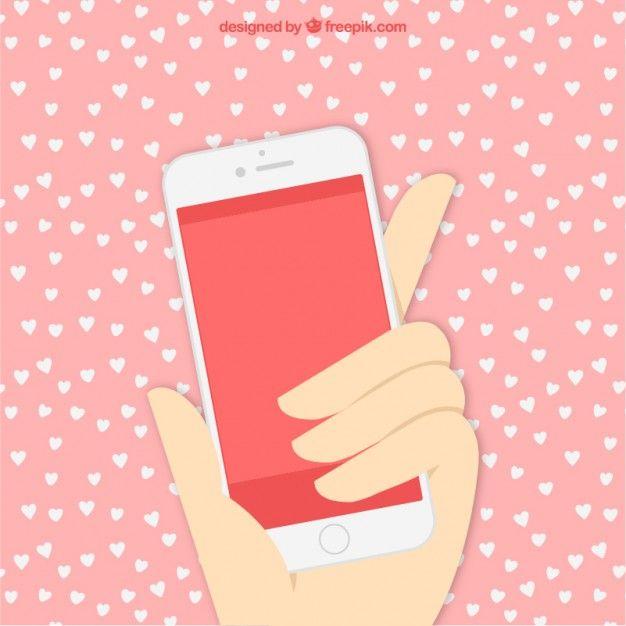 mão com telefone celular Vetor grátis
