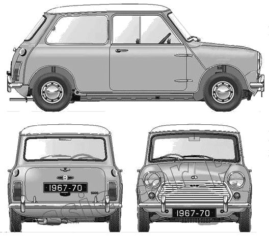 Austin Mini Cooper Mk II templates views