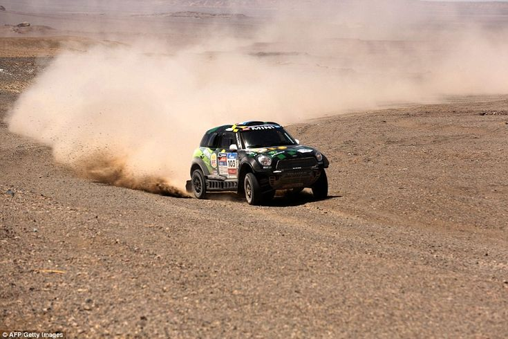 Mini Sport team driver Yazeed Mohamed al-Rahji and co-driver Timo Gottshalk during the 9th special stage of the Silk Way Rally