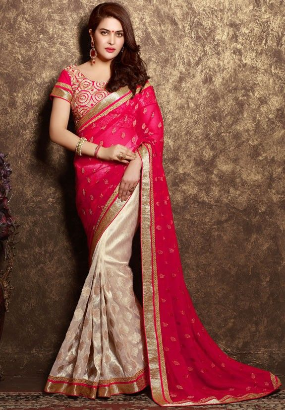 Admirable Off White and Red #Saree