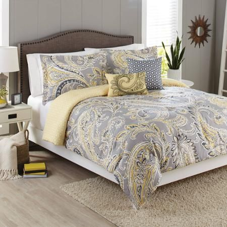 Better Homes and Gardens 5-Piece Bedding Comforter Set, Yellow Grey Paisley - Walmart.com
