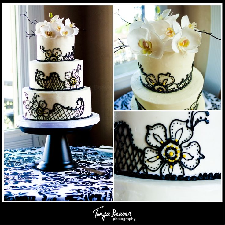Black White And Yellow Wedding Cakes