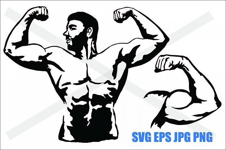 Muscle Man Svg Eps Jpg Png 412555 Illustrations Design Bundles In 2020 Muscle Men Png Eps