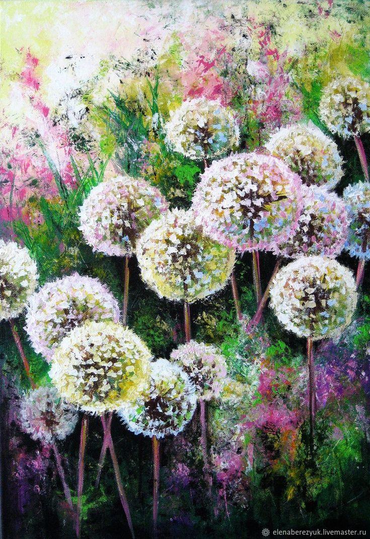 Buy Dandelion flower art Original acrylic painting summer