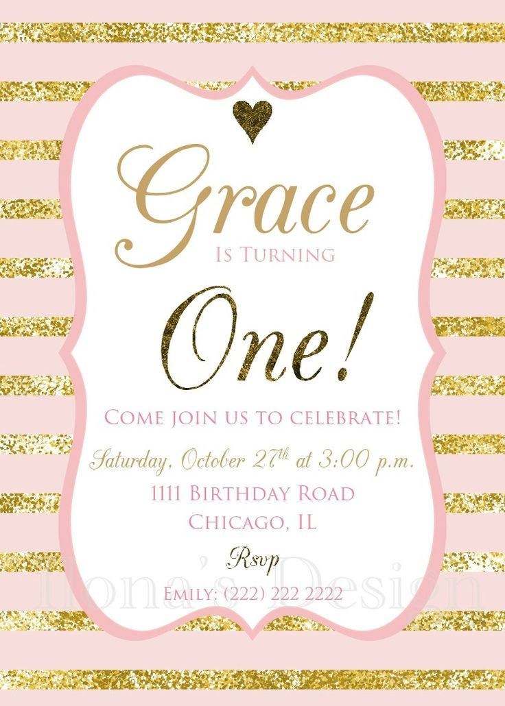 Pink and Gold First Birthday Invitation - 1st Birthday Theme - Girl First Birthday - Gold Glitter Party Invitation by Ilona's Design #pinkandgold #glitter #firstbirthday