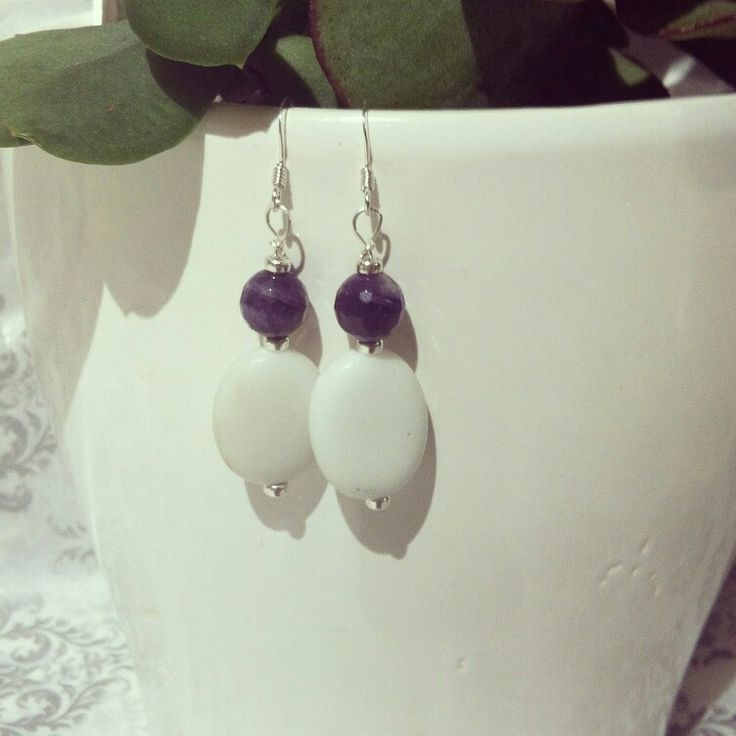 Newly available sterling silver earrings with sparkly amethysts & shimmery white marble stones & tiny sterling silver beads. islaandben@gmail.com for orders and further info