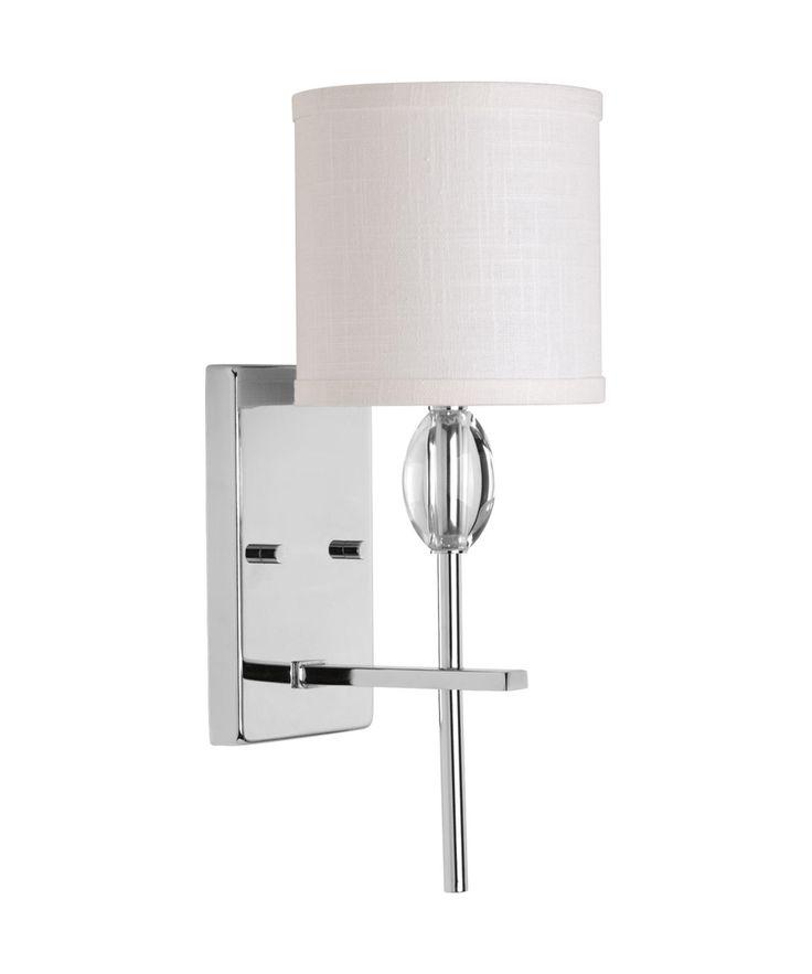 Progress Lighting Status 1 Light Bathroom Wall Sconce With Fabric Shade    Polished Chrome Indoor Lighting Bathroom Fixtures Bathroom Sconce