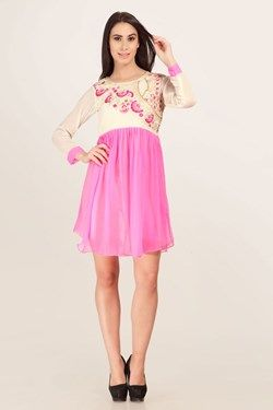 Kurtis,Admyrin,Pink and Cream  Georgette Full Sleeves Kurti