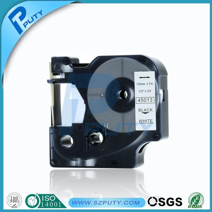 Совместимость 12 мм этикетки лента DYMO 45013 черного цвета на белом DYMO D1 этикетки