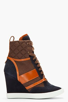CHLOE Navy and brown leather-trimmed Wedge Sneakers