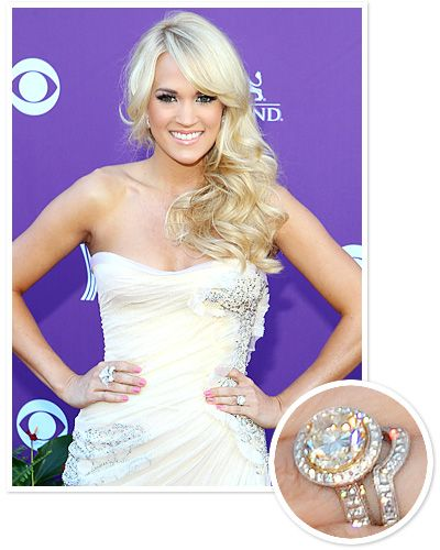 Carrie Underwood  Hockey player Mike Fisher asked for Carrie Underwood's hand in marriage with a yellow diamond ring by Jonathon Arndt.  QUICK LINKS: