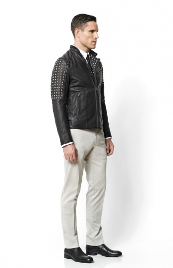 Calibre - Studded Leather Jacket   Stretch One Shirt   Skinny Solid Tie   Bleeker Pant   Buffalo Dress Boot