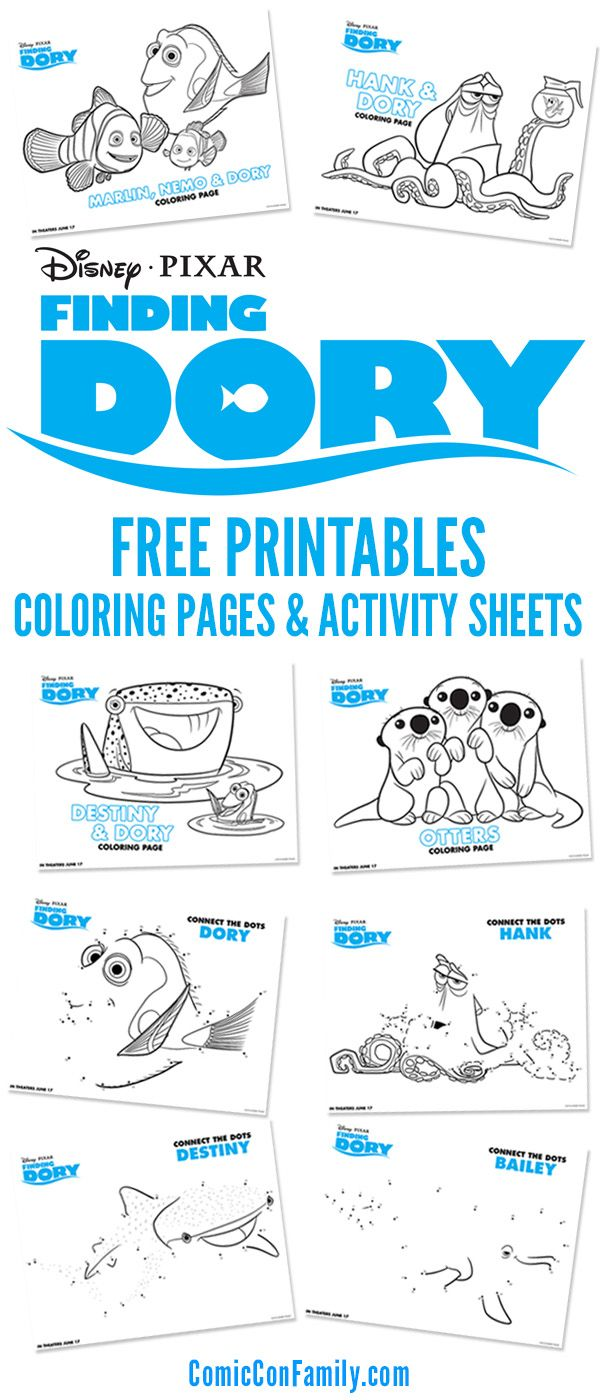 Get your free printables! We have Disney/Pixar Finding Dory Coloring Pages and Activity Sheets for kids -- young and old alike!