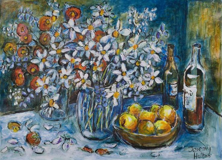'Fabulous flowers'  56 by 76 cms oil on paper by Jeremy Holton  #painting #jeremyholton http://www.jeremyholton.com http://thailand-painting-holidays.com Visit our art and photography guest house in NE Thailand https://plus.google.com/u/0/104359568476968412848?rel=author
