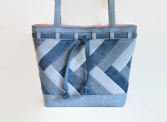 Grande del dril de algodón azul bolso de Jean bolso Denim