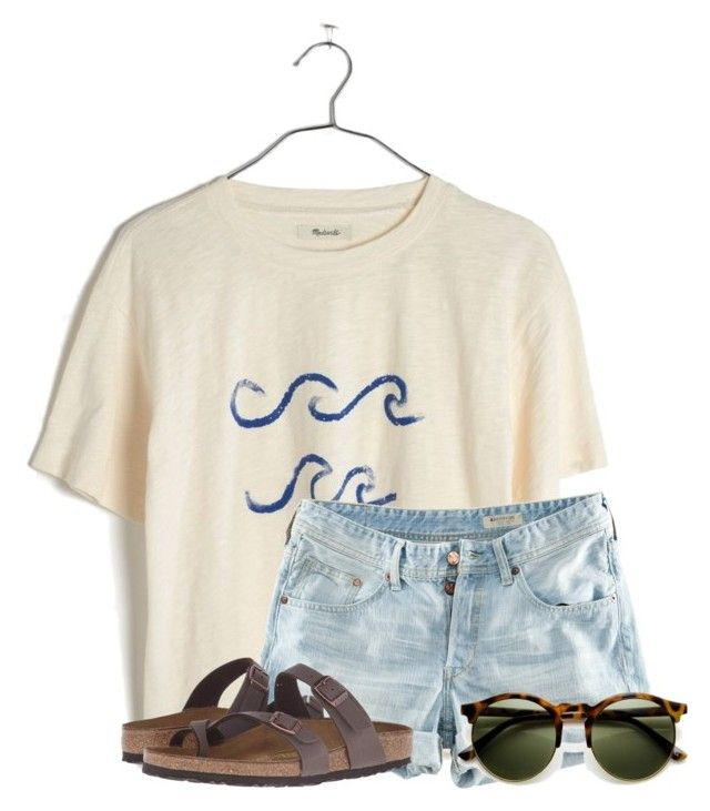 """""""~waves~"""" by flroasburn ❤ liked on Polyvore featuring Madewell, H&M and Birkenstock"""