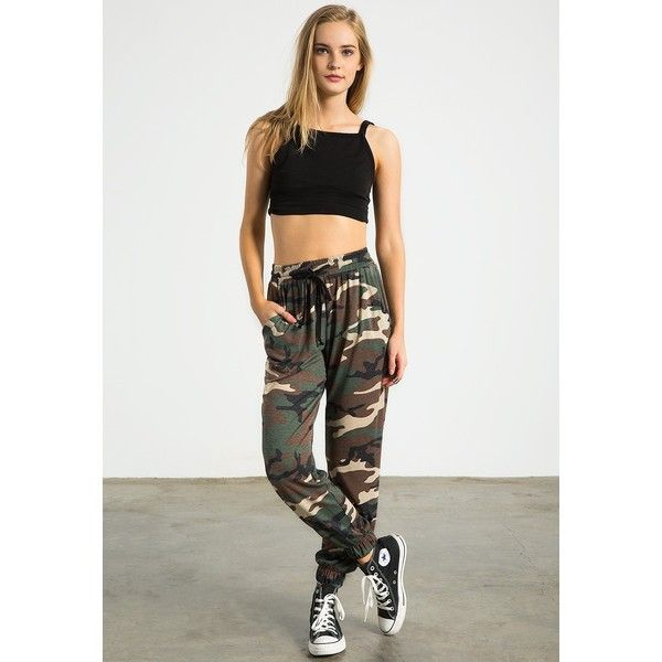 Sans Souci Camo jogger pants ($34) ❤ liked on Polyvore featuring army green and sans souci