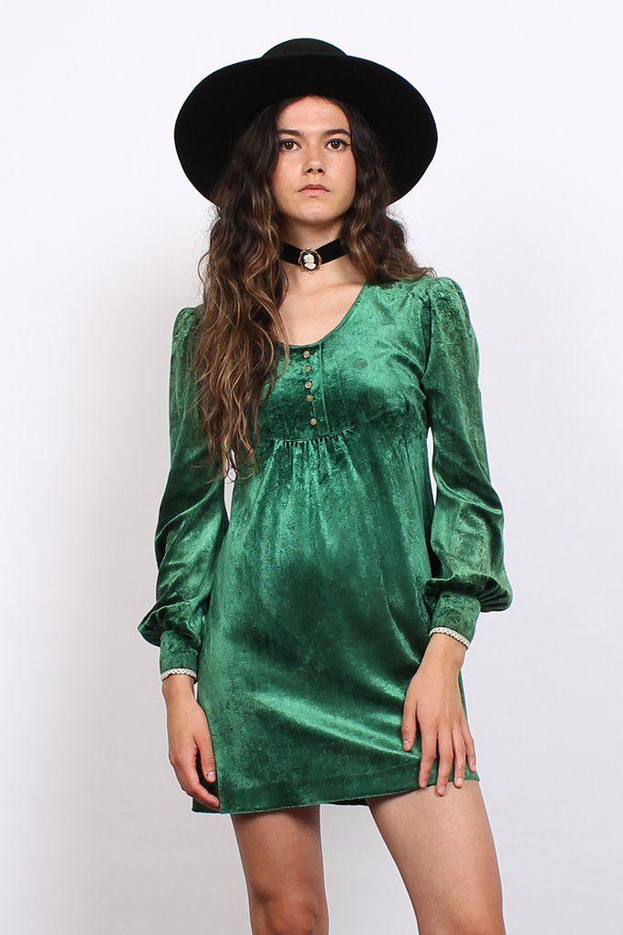 Vintage 70s Green Crushed Velvet Lace Babydoll Mini Dress