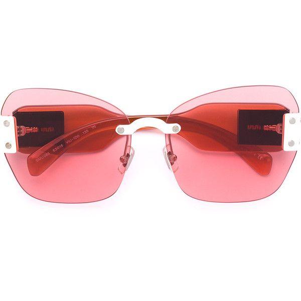 Miu Miu Eyewear Sorbet sunglasses ($500) ❤ liked on Polyvore featuring accessories, eyewear, sunglasses, pink, miu miu eyewear, miu miu, miu miu glasses, lens glasses and pink glasses