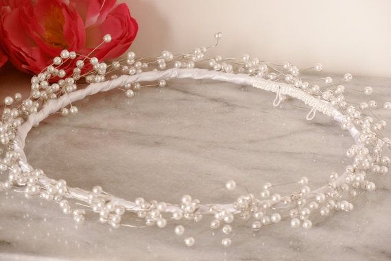 White Pearl Spray Baby's Breath Airy Bridal Wreath Tiara Headpiece Wedding Hair Piece Handmade