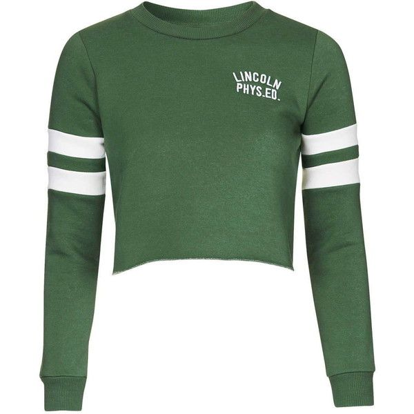 TopShop Petite Lincoln Embroidered Sweatshirt ($48) ❤ liked on Polyvore featuring tops, hoodies, sweatshirts, green, petite, topshop, embroidered top, cotton sweatshirt, sports tops and sport crop top