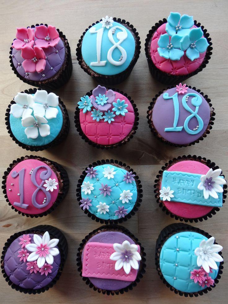 Girly 18th cupcakes Cupcakes decoration, Fondant cake