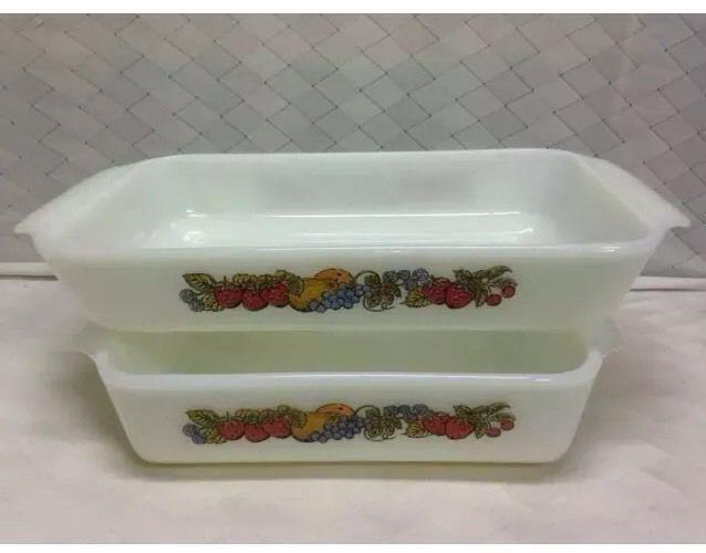 Vintage Fire King Milk Glass Bakeware Set of 2 Natures Bounty Midcentury | eBay  **ENDING SOON**2DAYS**