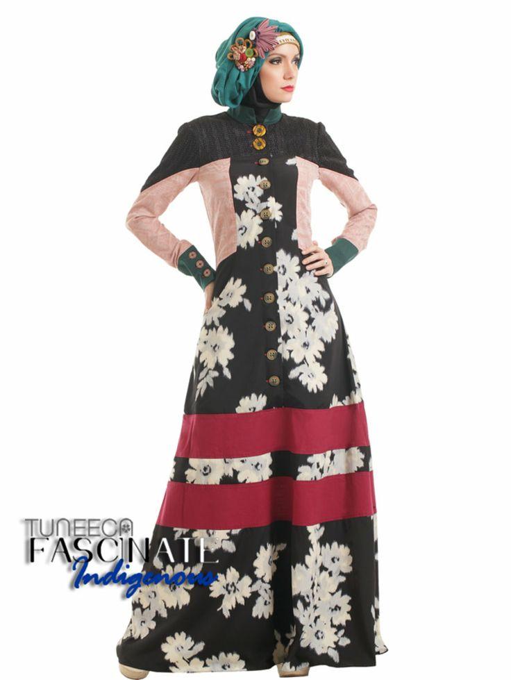 Feminine Elegant Gamis IDR 539,000 Colour  : black flower combine peach & deep magenta    https://www.facebook.com/pages/Butik-Sasmaya/159224260517