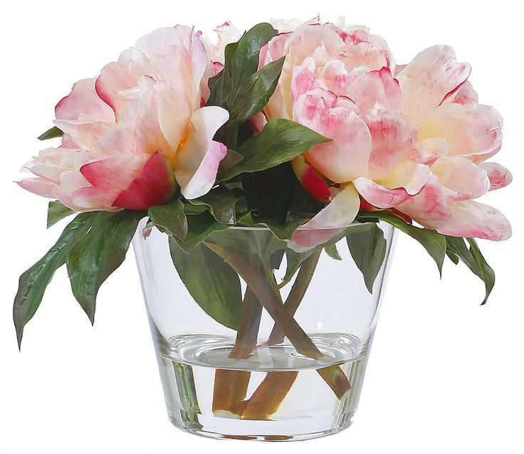 """PEACH PEONIES IN GLASS 10"""""""