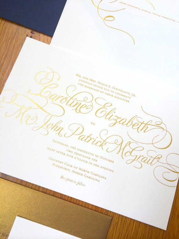 Gold Wedding Invitation Suite PRINTED SAMPLE -- Foil and Letterpress -- Calligraphy Simple Modern Script -- pompdesigns