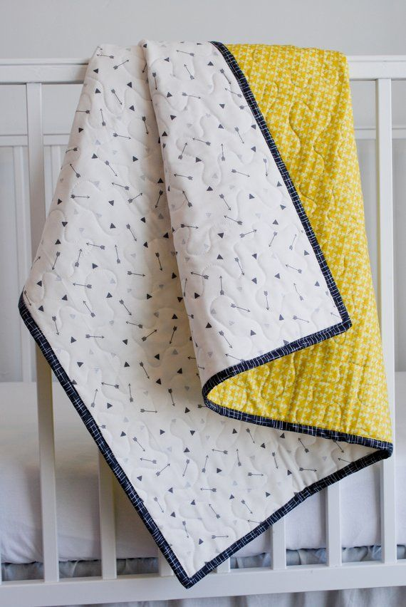100 Cotton Baby Blanket Yellow Triangles And Grey Arrows On Etsy In 2020 Baby Quilts Cotton Baby Blankets Baby Boy Blankets