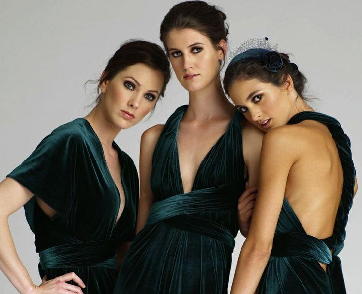 Gem tone hunter green velvet bridesmaids gowns, so different!