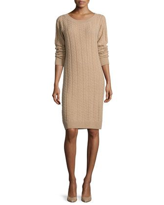 Long-Sleeve Cable-Knit Cashmere Dress  by Neiman Marcus Cashmere Collection at Neiman Marcus.