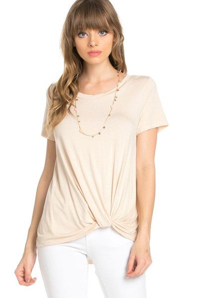 """- We're knot mad about this new twist on your everyday tee! Look effortlessly """"cool"""" in this knot tee ethically made in the USA we strongly encourage you to join us and put a new twist on your everyda"""