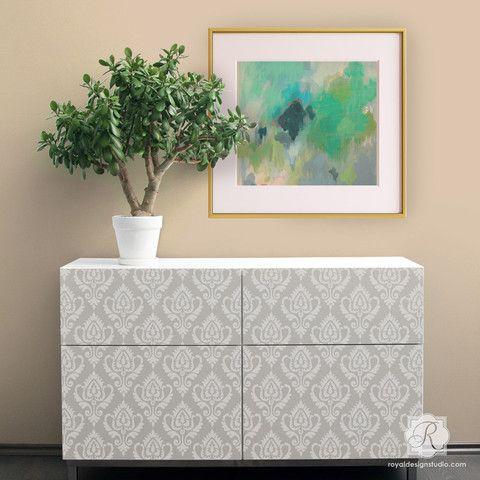 Anika Ikat Damask Furniture Stencil - Royal Design Studio - Painted Furniture Ideas