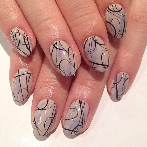 Line art nails #avarice #art #kayo #design #nails #nailart #nailsalon #nailsalonavarice #line #gray (NailSalon AVARICE)