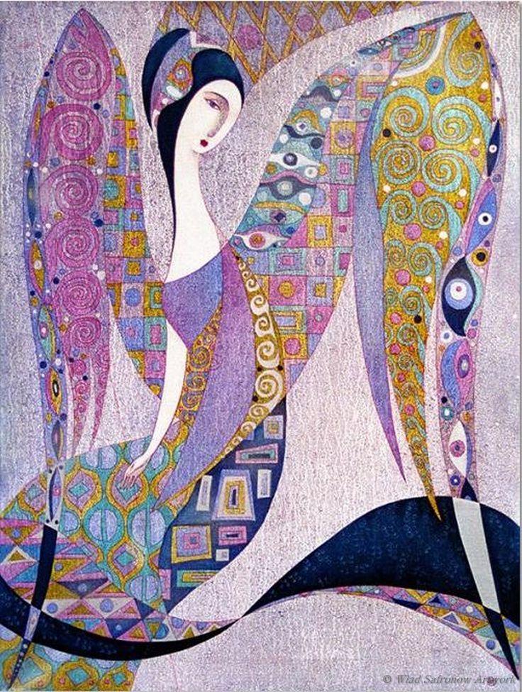 Schutzengel von Wlad Safronow. Oil Canvas. Klimt-like patterns & interesting color palette.