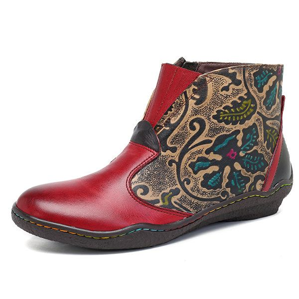 SOCOFY New Printing Retro Splicing Plant Pattern Flat Leather Boots