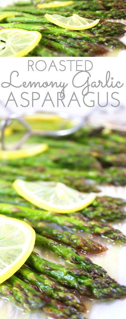 Lemony Garlic Roasted Asparagus: You'll love this zippy new twist on asparagus. Fresh asparagus is oven-roasted 'til tender, basted with olive oil, garlic, fresh lemons and lemon zest. Perfection!