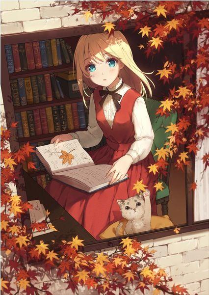 Girl read in fall