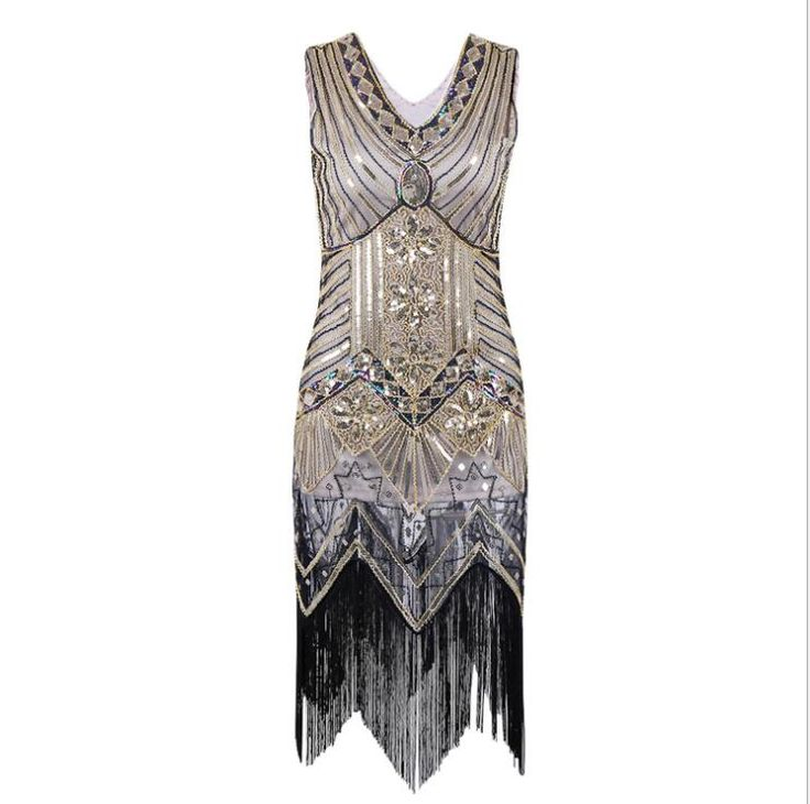 New Ladies 1920s 1930s Vintage Style V Neck Sleeveless Flapper Style Gatsby Fringe Dress New Year Party Dress
