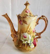 Vintage Lefton Marrom Heritage Rose Bule De Café Com Tampa Muito guarnição de ouro