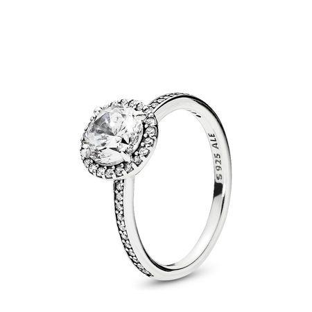c4c94e9f4 Classic Elegance Ring, Clear CZ, Sterling silver, Cubic Zirconia - PANDORA  - #196250CZ-52