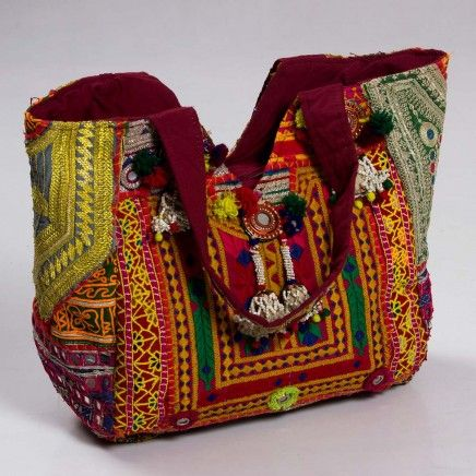 Buy online #Vintage #kutch #embroidered #tote #bag for women