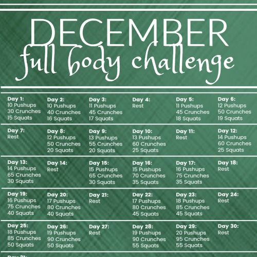 Workout your whole body with this 31-day December workout challenge!