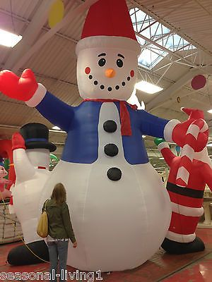 Huge 20 ft commercial grade lighted snowman christmas yard for Motor for inflatable decoration