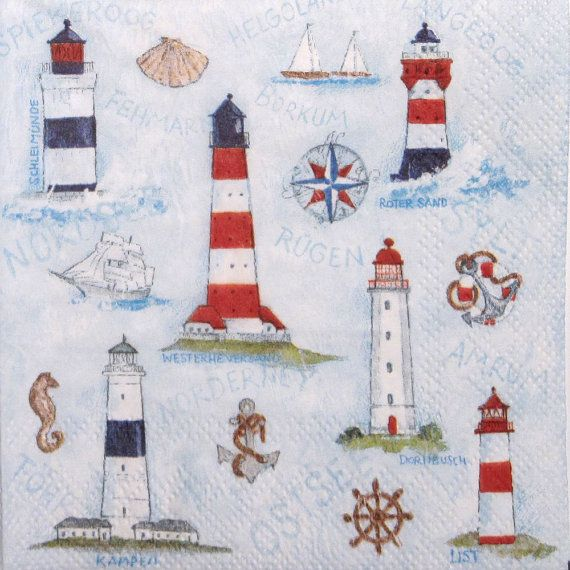 Lighthouse Nautical  Paper Napkins for Decoupage by ArsaiSupplies