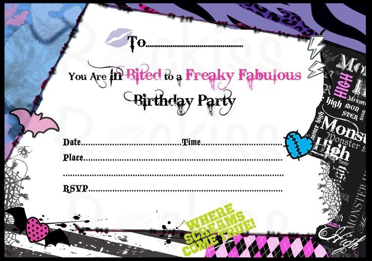 Free Printable Monster High Birthday Invitations Layout Free Printable Birthday In Monster High Birthday Party Monster High Invitations Monster High Birthday