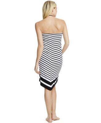 Motherhood Maternity Maternity Swim Cover-up, Halter - Black-White Stripe XL